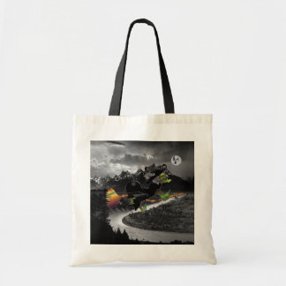 Witch chasing Ghost moon by Grand Tetons Tote Bag