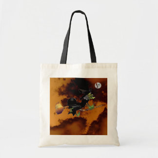 Witch chasing Ghost moon in tornado Tote Bag