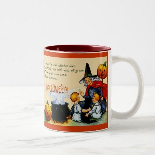 Witch, Children, Pumpkins & Cat Hallowe'en Mug