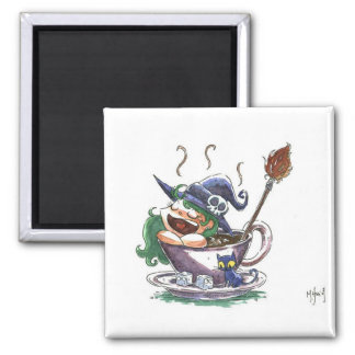 Witch Coffee Break 1 2 Inch Square Magnet