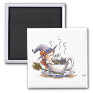 Witch Coffee Break 2 2 Inch Square Magnet