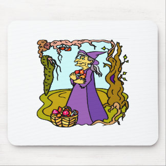 Witch collecting mushrooms mouse pad