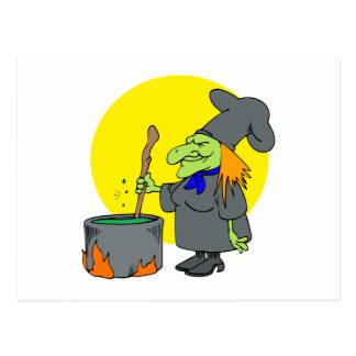 witch cooking potion postcard