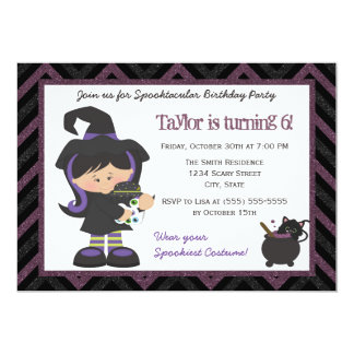 witch costume halloween birthday party invitation - Baby Halloween Birthday Party
