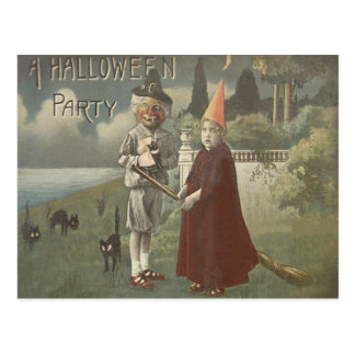 Witch Costume Trick Or Treat Black Cat Postcard
