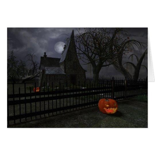 Witch Cottage with Pumpkin Lantern Card