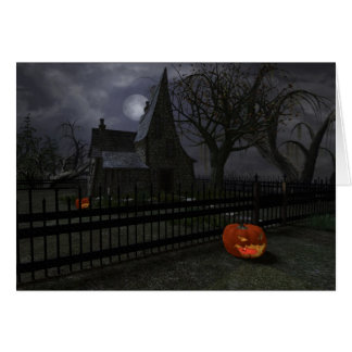 Witch Cottage with Pumpkin Lantern Greeting Card