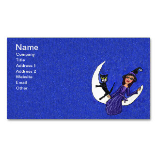 Witch Crescent Moon Black Cat Stars Halloween Magnetic Business Card