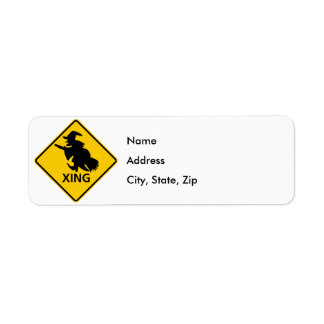 Witch Crossing Highway Sign Return Address Label