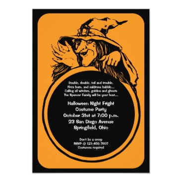 thepapershoppe Witch Crystal Ball Halloween Party Invitation