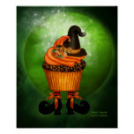 Witch Cupcake Halloween Art Poster/Print