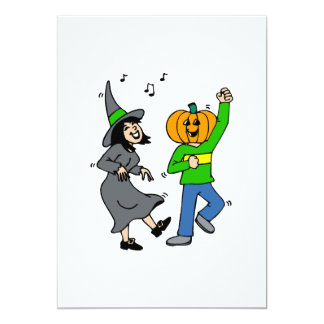 Witch dancing with pumpkin head invites