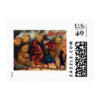 Witch Devil Black Cat Jack O' Lantern Postage