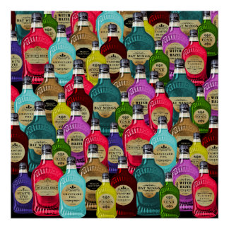 Witch Doctor Magic Potion Apothecary Tonic Bottles Poster