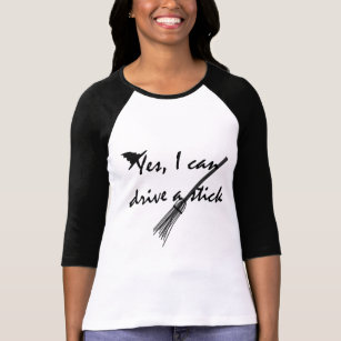 witch drive a stick funny halloween t shirt