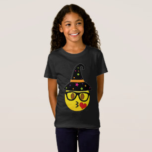 witch emoji halloween t shirt for girls