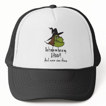 Halloween Themed witch-face-hop on broom trucker hat