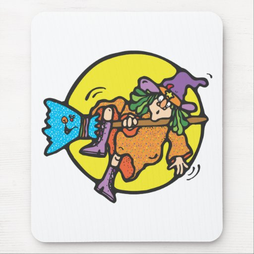 witch falling off broomstick mouse mat