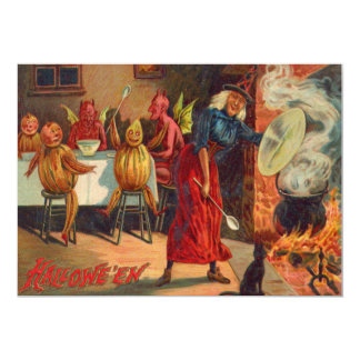 Witch Feeding Devils And Creatures Card