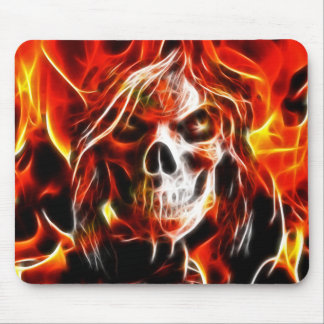 Witch Fiery Skull Mouse Pad