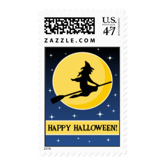 Witch Flying Across Moon Halloween Postage Stamps