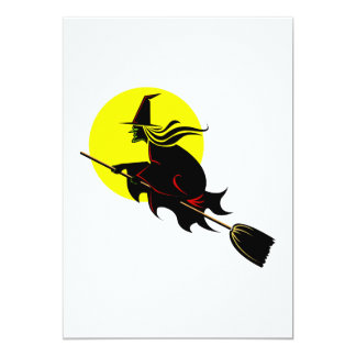 Witch flying across the moon invitation