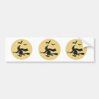 Witch flying before the moon bumper sticker