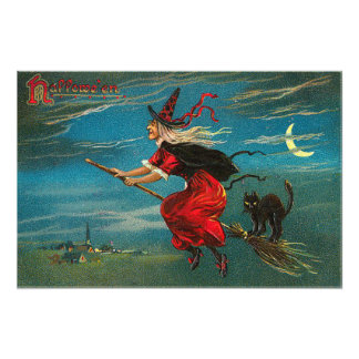 Witch Flying Black Cat Crescent Moon Photo Print
