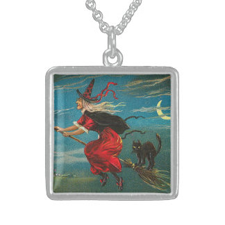 Witch Flying Black Cat Crescent Moon Sterling Silver Necklace