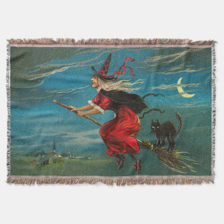 Witch Flying Black Cat Crescent Moon Throw Blanket