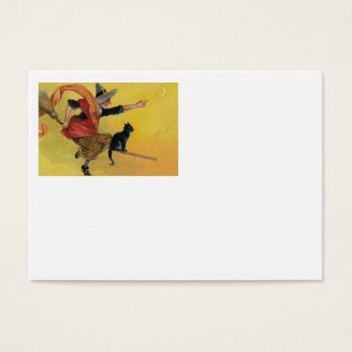 Witch Flying Broom Black Cat Crescent Moon Business Card