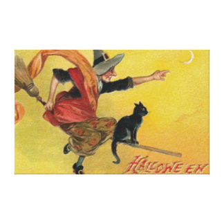 Witch Flying Broom Black Cat Crescent Moon Canvas Print