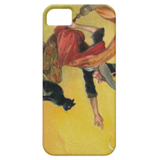Witch Flying Broom Black Cat Crescent Moon iPhone SE/5/5s Case