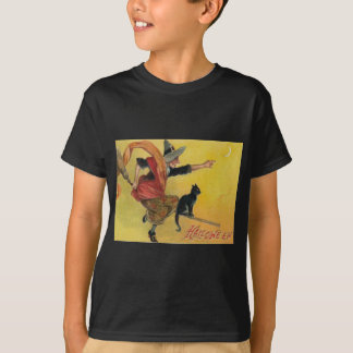 Witch Flying Broom Black Cat Crescent Moon T-Shirt