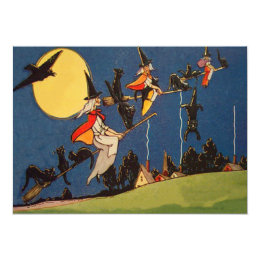 Witch Flying Broom Black Cat Full Moon Crow Raven Card