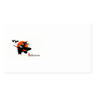 Witch Flying Broom Full Moon Bat Business Card