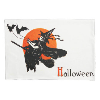 Witch Flying Broom Full Moon Bat Pillow Case