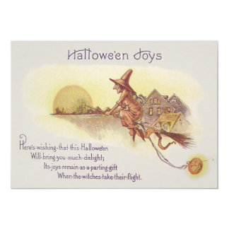 Witch Flying Broom Full Moon Jack O' Lantern Card