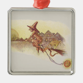 Witch Flying Broom Full Moon Jack O' Lantern Metal Ornament