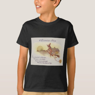 Witch Flying Broom Full Moon Jack O' Lantern T-Shirt