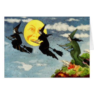 Witch Flying Broom Man In The Moon Sky Greeting Card