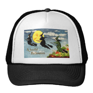 Witch Flying Broom Man In The Moon Sky Mesh Hats