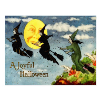 Witch Flying Broom Man In The Moon Sky Postcard