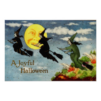 Witch Flying Broom Man In The Moon Sky Poster
