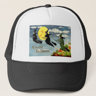 Witch Flying Broom Man In The Moon Sky Trucker Hat