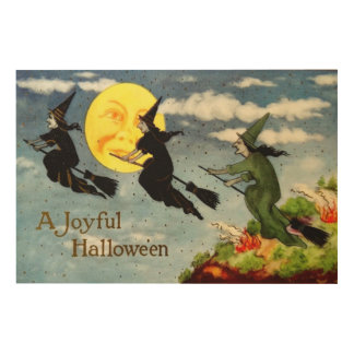 Witch Flying Broom Man In The Moon Sky Wood Print
