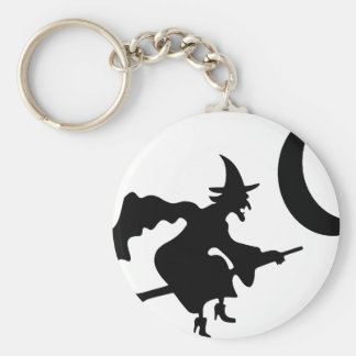 Witch Flying by Crescent Moon Basic Round Button Keychain