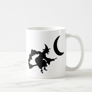 Witch Flying by Crescent Moon Coffee Mug