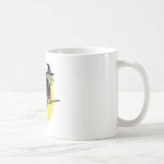 Witch flying by moon mugs