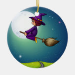 Witch flying ceramic ornament